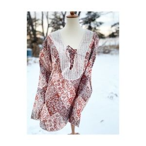 Boho Floral Tunic Shirt Lace Wide Cuffs Bodice Tie